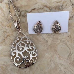 925 Sterling Silver Necklace & Matching Earrings